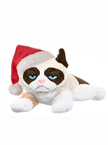 Laying Cat - Grumpy Cat with Santa Hat - 8-inch Laying
