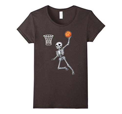 [Womens Skeleton Basketball Halloween TShirt Slam Dunk Costume Gifts Small Asphalt] (Basketball Womens Costume)