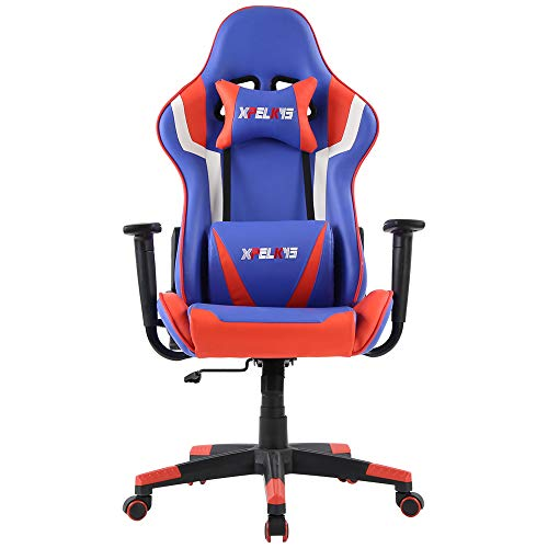 XPELKYS Gaming Office Chair Computer Desk Chair Racing Style High Back PU Leather Chair Executive and Ergonomic Style Swivel Chair with Headrest and Lumbar Support (Blue/White/Black)