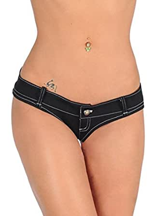 LinvMe Women's Sexy Thong Jeans Triangle Low Waist Denim