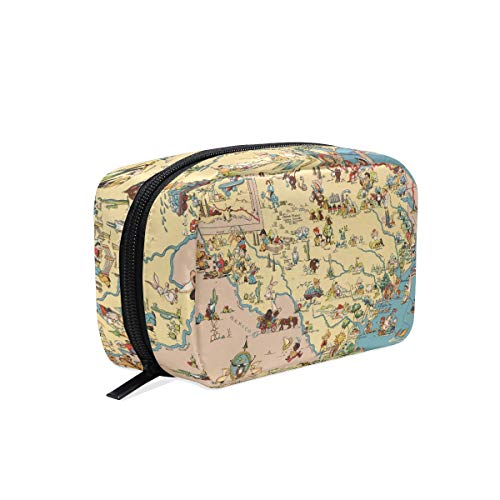 (Makeup Bag Texas State Map Cartoon Pattern Cosmetic Pouch Clutch)