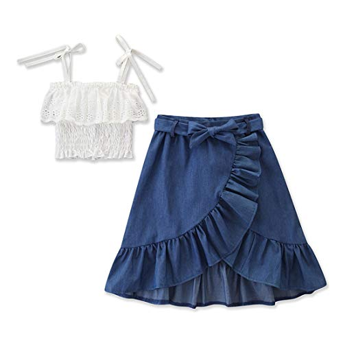BOIZONTY Toddler Kids Baby Girls Ruffle Strappy Tube Top Irregular Maxi Skirt Outfit Dress Set Summer Clothes (Irregula Skirts, 2-3 Years)