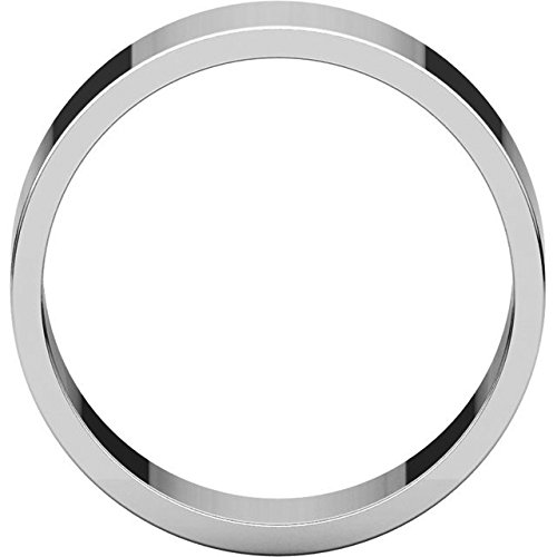 Mens 10K White Gold 7mm Flat Traditional Wedding Band Ring