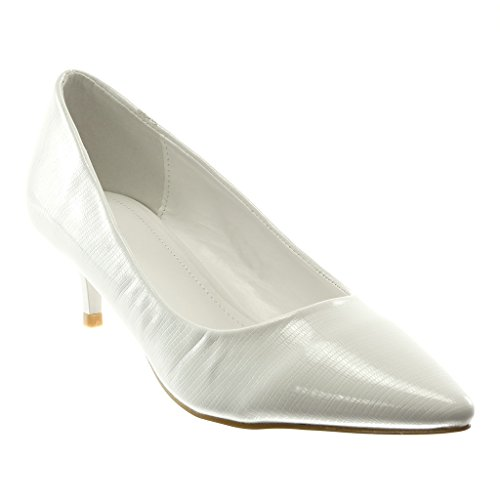 Mode Croco Escarpin Cm on Decolleté Blanc Angkorly Talon Femme 5 Slip Verni Aiguille Chaussure Stiletto 5 Haut wqCxZ8R5
