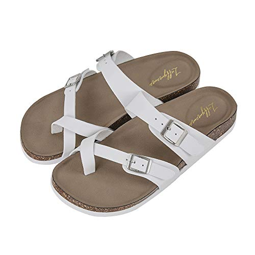 LUFFYMOMO Womens Slide Sole Sandals Cork Footbed Adjustable Thong Flat Sandals(9 M US White Thong)