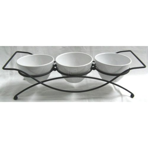 (COMPL STONE Set of 3 ROUND BOWLS ON RACK GB)