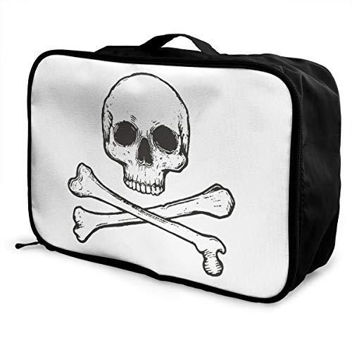 Crossbone Skull Head Portrait Lightweight Large Capacity Portable Luggage Bag Fashion Travel Duffel Bag