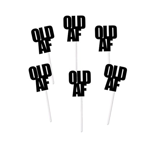 Old AF Cupcake Toppers for Birthday Party (Black Glitter) - Over the Hill Dirty Thirty Decorations Cake