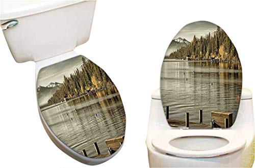Waterproof Toilet Seat Sticker at Lakeside Carnelian Bay Tahoe California USA Boardwalk Tranquil Scene Green Sage Green Toilet Stickers Restroom Art Stickers 15