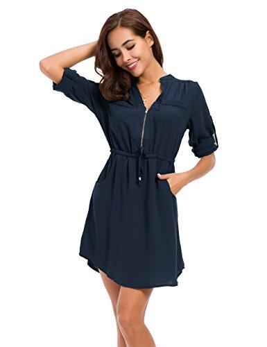 Drawstring Shirt - MOQUEEN Womens Casual Chiffon Shirt Dress Long Sleeve Drawstring Roll-up Blouses Front Zipper Pocket