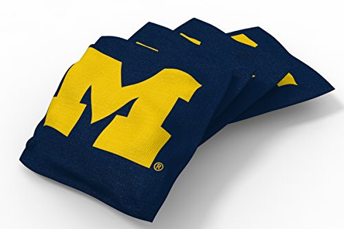 Wild Sports NCAA College Michigan Wolverines Blue Authentic Cornhole Bean Bag Set (4 Pack)
