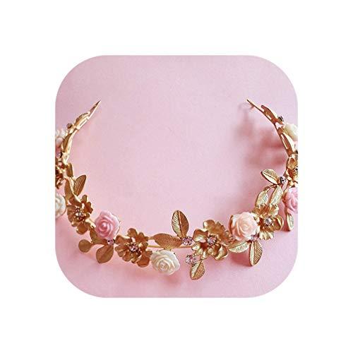 Vintage Gold Crystal Ceramic Flowers Bridal Tiaras Alloy Rhinestone Pageant Prom Crown Bride Headbands Wedding Hair Accessories