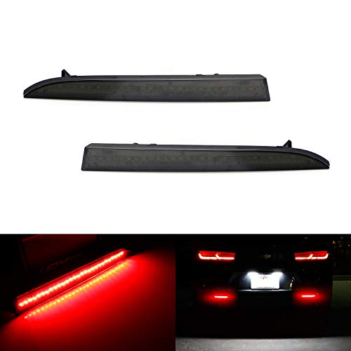 iJDMTOY Smoked Lens 28-SMD Red LED Bumper Reflector Lights For 2016-up Gen6 Chevrolet Camaro, Function as Tail/Brake or Rear Fog Lamps ()
