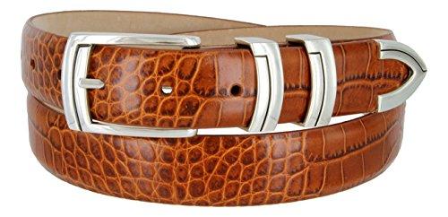 Harbor Men's Italian Genuine Calfskin Leather Designer Dress Belt In Alligator Tan, Size 36 - Alligator Genuine Belt