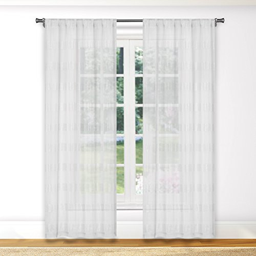 (Bathroom and More Collection Pure White SHEER Window Curtain Panel Pair Stripe Design (Panel Pair (2) 84