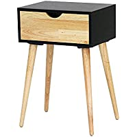 Heather Ann Creations Euro Collection Modern Single Drawer Accent Stand Table, 23.6 Tall, Black