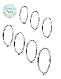 Milacolato 7PCS 1MM Stainless Steel Band Knuckle Stacking Rings for Women Girls Fashion Midi Rings Comfort Fit Size 3-9