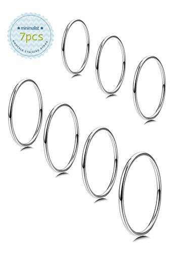Milacolato 7PCS 1MM Stainless Steel Band Knuckle Stacking Rings for Women Girls Fashion Midi Rings Comfort Fit Size 3-9 by Milacolato