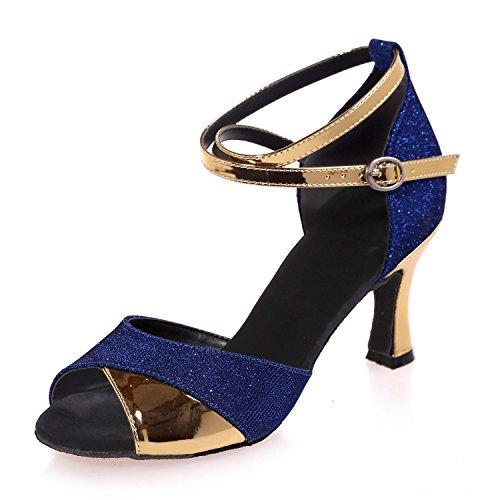 L@YC Zapatillas De Baile Para Mujeres Latinas Chicas De Mujeres Cubanas Con 7.5 Multi Colores (220) Personalizables Blue