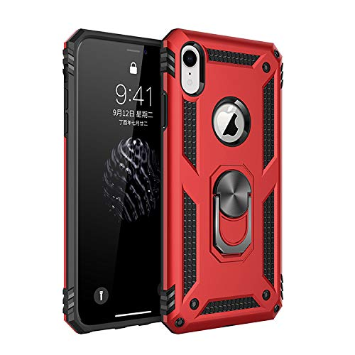 iPhone XR Case, Extreme Protection Military Armor Dual Layer Protective Cover with 360 Degree Unbreakable Swivel Ring Kickstand for iPhone XR 6.1'' Red by Korecase