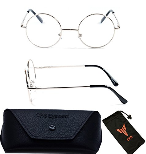 (#VR01 Slv) 2 Pairs Round Reading Glasses with Spring Hinged (CLEAR LENSES- No - Precription Glasses