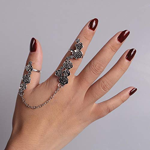 Yean Gothic Rose Ring Set Silver Joint Knuckle Rings Vintage Jewelry for Women and ()