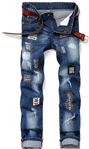 Denim Marchio Moda Slim Uomo Hle Di Blau Originale Nne Cotone Ssig Semplice Distintivo Autunno Dritti Stile Jeans Pantaloni Patch Reality 5wwqIgF