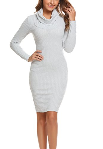 Women Cowl Neck Pullover Knit Stretchable Elasticity Long Sleeve Slim Fit Sweater Dress