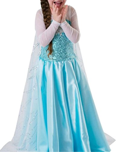UGET Snow Queen Princess Party Cosplay Costume Girls Dress Up 3 Years -