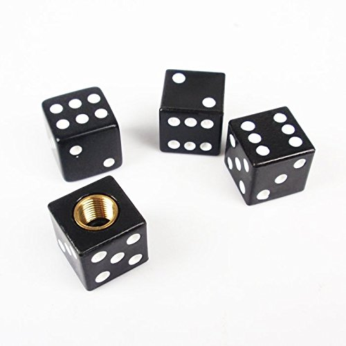 Bazaar 4PCS Dice Valve Caps Black Tire Air Valve Stem Caps Car Trunk Bike Bicycle Wheel Rims Accessories