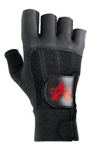 Black Pro Fingerless Full-Leather Anti-Vibe Gloves With AV GELTM Padding And Wrist Wrap And Loop Cuff