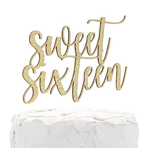 NANASUKO 16th Birthday Cake Topper - Sweet Sixteen - Double Sided Gold Glitter - Premium Quality Made in USA
