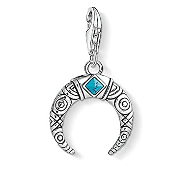 Thomas Sabo Women's 925 Sterling Silver Charm Moon Mother of Pearl Club Pendant 1536-029-14 3zshUciXWO