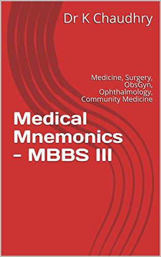 Medical Mnemonics - MBBS III: Medicine, Surgery, ObsGyn, Ophthalmology, Community Medicine