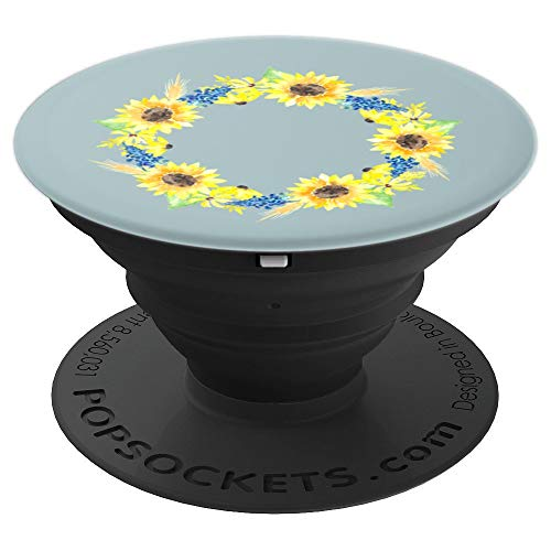 - Sunflower Wreath & Bluebell Hydrangea Flower French Country - PopSockets Grip and Stand for Phones and Tablets
