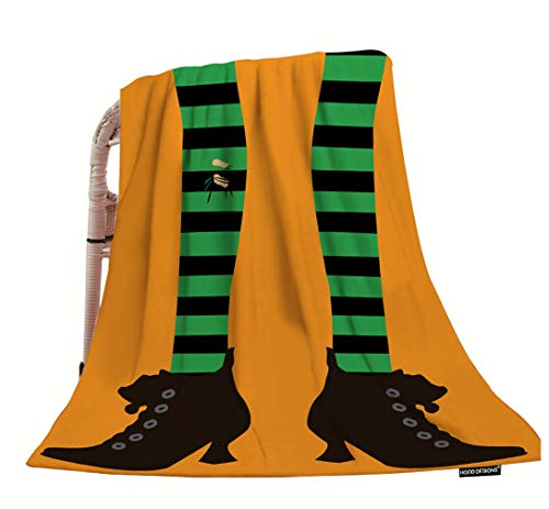 HGOD DESIGNS Halloween Throw Blanket,Cartoon Funny Witch Legs in Striped Tights On Orange Background Soft Warm Decorative Throw Blanket for Baby Toddler or Pets Cat Dog 30