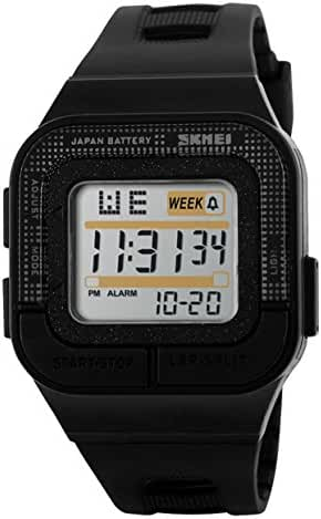 SKMEI Boys Digital Sport Watch Waterproof Electronic Square Black SK1186A