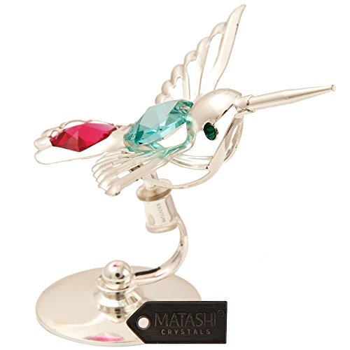 Silver Plated Hummingbird Sun-Catcher Ornament with Multi-Colored Crystals by Matashi