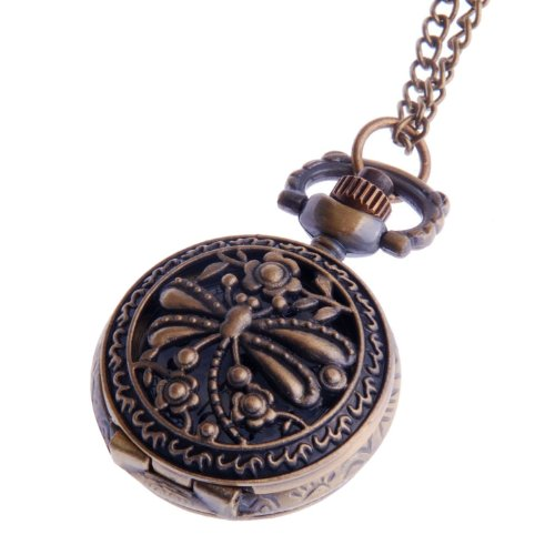 Womens Pendant Pocket Watch With Chain Small Face White Dial Arabic Numerals Dragonfly Design PW-59