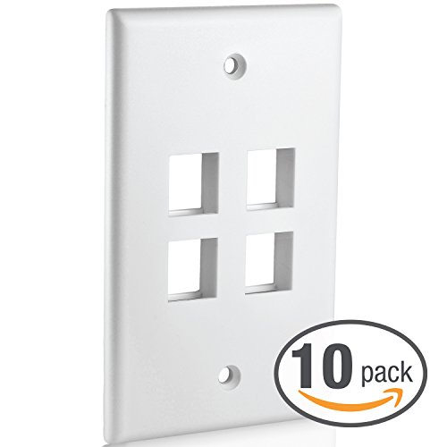 Mediabridge Keystone Wall Plate (4-Port, White) - 10 Pack (Part# 51W-104-10PK)