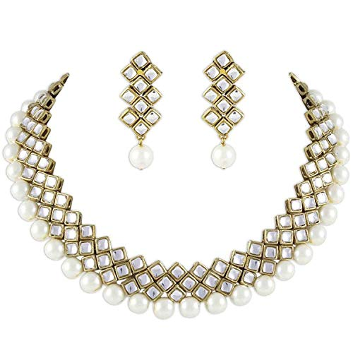 Aheli Kundan Pearl Necklace Earring Set Indian Ethnic Traditional Bollywood Wedding Engagement Party Jewelry for Women (White)
