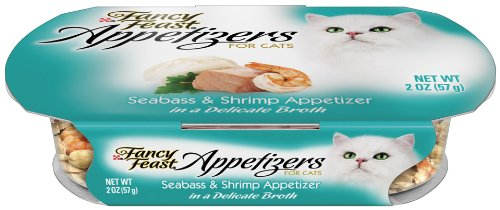 Fancy Feast Appetizers for Cats, Seabass and Shrimp, 2-Ounce Tubs (Pack of 10), My Pet Supplies