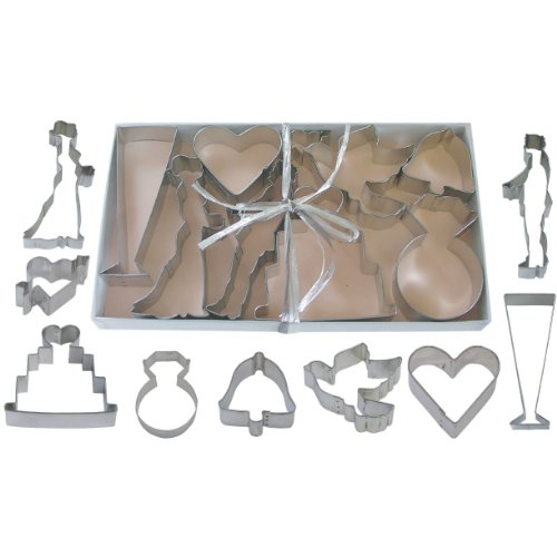 9 pc wedding cookie cutter set L1821 - Wedding Ring Cookie Cutter