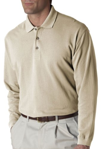 UltraClub Polo Shirt 8532 Solid Men's Long-Sleeve Classic Pique 2XL Stone (Windshirt Stone)
