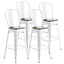 """Farmhouse Barstools Mecor Metal Bar Stools Set of 4 w/ Removable Backrest, 30"""" Dining Counter Height Chairs with Wood Seat for Outdoor… farmhouse barstools"""