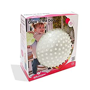 Edushape Glow in The Dark Sensory Baby Ball - 7 Inch Kids Textured Play Ball - Great for Developing Fine Motor Skills - Endless Fun with This Nubby Bounce Ball Toy (for Kids 6 Months and Up).
