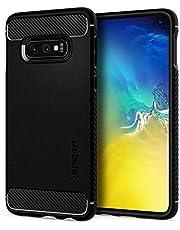 spigen Funda para Samsung Galaxy S10E Rugged Armor con Absorción de Choque Resistente y diseño de Fibra de Carbono - Negro Mate