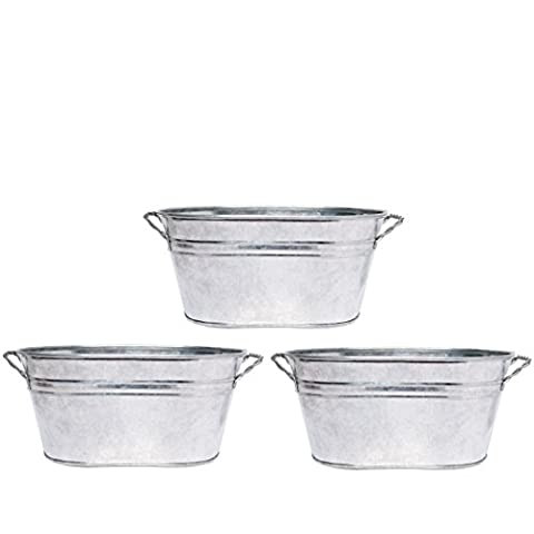 Hosley 3 Pack of Galvanized Oval Planters - 8