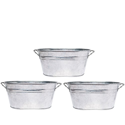 Hosley 3 Pack of Galvanized Oval Planters - 8 Inch Long. Ideal Gift and Use for Weddings, Special Events, Parties, Outside Planters. W9]()