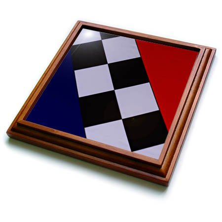 3dRose Alexis Photography - Abstracts - Image of red, blue, checkered textile pattern. Color abstract texture - 8x8 Trivet with 6x6 ceramic tile (trv_286564_1) (Photography Image Red)